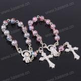 Braccialetto di vetro del rosario delle belle ragazze con il pendente della traversa del diamante