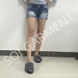 Calças de brim lavadas Mulher ocasionais do furo da senhora Shorts Demin Calças de brim da forma (SOIPTS27)