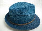 Шлем сторновки Fedora рафии 100% точный Crocheted