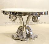 Beau Tableau de luxe de marbre de salle à manger d'acier inoxydable de Rond