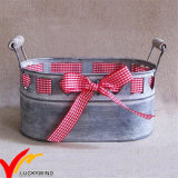 Decoração de fita decorativa Oblong Galvanized Antique Metal Flower Planter