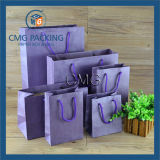 Bolsa de papel púrpura romántica de Kraft con la cuerda de los PP (DM-GPBB-041)