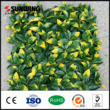 El amarillo Anti-ULTRAVIOLETA de la decoración casera deja la pared artificial de las plantas al aire libre