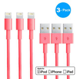3pack cable de datos de la sinc. de la cuerda del cargador del USB del Pin del OEM 8 para el iPad 6+ del iPhone 5 5s 5c 6 mini - color de rosa