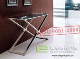 Серая таблица пульта Tempered стекла с почищенными щеткой ногами нержавеющей стали