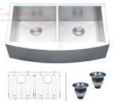 Edelstahl-Schutzblech-Vorderseite-Gleichgestellt-Doppelt-Filterglocke-handgemachte Küche-Wanne mit Cupc Bescheinigung