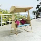 SynthetickのPE藤アルミニウムフレームの倍の振動椅子のハンモック(YTX891)が付いている防水屋外の庭の家具