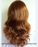 La maggior parte capelli sintetica femminile di Remy della parrucca riccia del Brown di modo