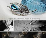 Elegante Feder-Kristallbrosche-Baum-Blatt-Schmucksache-Brosche (Pfau TB-015 Blattform)