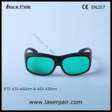 Gafas de seguridad de laser de la IDT 630 - 660nm O.D3+ y 800 - 830nm O.D5+ para el rojo, En 207 del Ce de la reunión de los lasers del diodo
