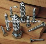 Grado de madera 4.8 de los tornillos de retraso de la pista Hex del acero de carbón de la alta calidad DIN571