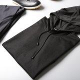 綿混合されたポリエステル優れた品質の半分の袖の黒Hoodie
