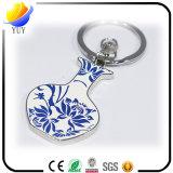 Blumen-Vasen-Form-blaues und weißes Porzellan-Metallschlüsselkette