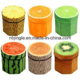 ¡Venta caliente! Otomano reunido plegable redondo del almacenaje del diseño anaranjado de la fruta