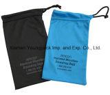 Saco de alça de corda de microfibra preta impressa customizada personalizada