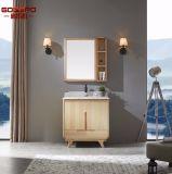 ミラー(GSP9-002)が付いている赤茶色の支えがない木製の浴室用キャビネット