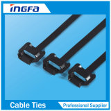 Type libérable bande enduite en plastique de solides solubles 316 de serres-câble d'acier inoxydable d'époxy