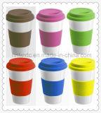 Taza de cerámica de viaje más vendida con tapa de slicone