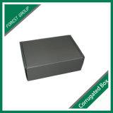 Caixa de papel ondulada de carimbo de prata do preto do logotipo