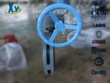Válvula de borboleta manual flangeada dobro Center do sem-fim com ferro de molde