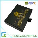 Caixa de jóia preta luxuosa da corrediça do cartão