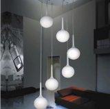 Iluminação de suspensão da decoração da lâmpada do pendente do vidro branco moderno