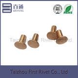 7-5 el cobre plateó el remache de acero semi tubular plano de la pista