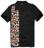 Os projetos os mais atrasados da camisa da luva curta do algodão para o casino 2017 dos homens imprimiram camisas do trabalho