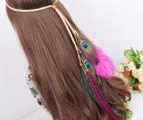 I capelli della piuma del pavone legano la vendita calda della fascia per gli accessori dei capelli delle donne