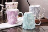 12oz taza rosada de cerámica, taza exterior rosada blanca interna del gres para los cabritos