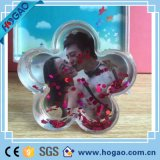 Globe bon marché acrylique en forme de coeur de neige de bâti de photo