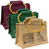 Petit sac normal fait sur commande promotionnel de cadeau de choc de jute de 3 guichets