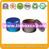 Runder Metallzinn-Behälter, Zinn-Kasten, Nahrungsmittelzinn-Kasten