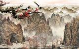 川および村の景色モデルNo.の赤戴冠させたクレーンボートが付いている高い山そして流水の絵画: WL0219