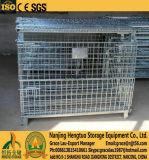Dobrável, gaiolas de metal galvanizado empilháveis, gaiola de paletes de malha de arame, contentor de gaiolas de paletes de malha para armazenamento de armazém