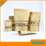 Kraft 종이 주머니 또는 Kraft 종이는 주머니를 위로 서 있다 또는 Kraft 종이는 지퍼를 가진 주머니를 위로 서 있다