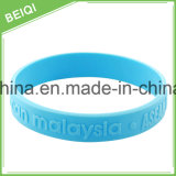 Der kundenspezifische geprägte Entwurf Sports Dekoration-SilikonWristband, Armband
