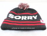 冬の帽子のアクリルのジャカード帽子の帽子の帽子のカスタムニットの帽子POMのPOMによって編まれる帽子