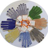 7 gants de Knit de chaîne de caractères de coton de décolorant de mesure avec le PVC bleu pointille un Dkp110 latéral