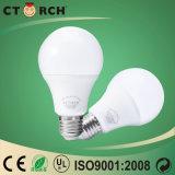 Bulbo de alumínio do diodo emissor de luz do plástico do elevado desempenho E27/B22 9W 12W de Ctorch