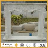 Pedra/cornija de lareira chaminé da pedra calcária/Travertine/chaminé de mármore brancas com boa cinzeladura