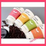 Logotipo feito sob encomenda copo de papel quente impresso do chá/café com a luva do copo da isolação
