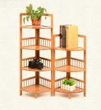 Crémaillère faisante le coin en bambou, étagère faisante le coin en bambou, stand faisant le coin en bambou