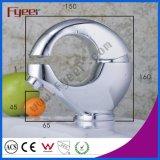 Fyeer kreatives O-Form Chrom überzogener Messingwäsche-Bassin-Hahn Hot&Cold Wasser-Mischer-Hahn Wasserhahn