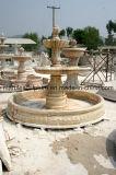 Fontana di marmo beige a tre livelli della scultura (SY-F012)