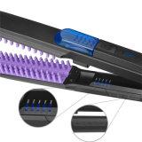 Alta calidad 2 en 1 hierro que se encrespa del cepillo de la enderezadora del pelo