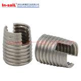 内部および外部セルフ・タッピングナットのための糸によって設計されている挿入