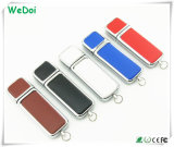 Hot Selling Leather USB Flash Drive com baixo custo para presente de Natal (WY-L07)