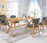 Conjunto de mesa de jantar de madeira de mesa de metal moderna (NK-DTB092)