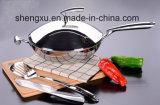 18/10 cuisson chinoise de Wok de batterie de cuisine d'acier inoxydable (SX-WO32-18)